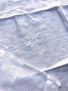 Six large vintage French damask monogrammed napkins J B