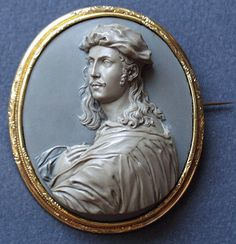 Cameo of jasper, gold and mother of pearl, circa 1850, Raphael, Italy.