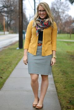 "CUTE! Love it! Would love a striped skirt like this that's forgiving on my thighs but knee length on my 5'10"" self!"