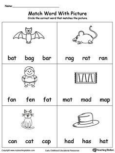 **FREE** Match Word with Picture: AT Words Worksheet. Topics: Phonics, Reading, and Word Families. English Worksheets For Kindergarten, Kindergarten Reading Activities, Phonics Reading, Kindergarten Math Worksheets, Teaching Phonics, Phonics Worksheets, Jolly Phonics, Reading Worksheets, Reading Comprehension