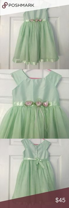 Mint green dress with pink roses This mint colored dress has gorgeous pink rose accents to make your little girl look amazingly beautiful. Full tulle skirt. Only worn once! Great condition! Youngland Dresses Formal