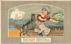 Victorian Lil Girl~Rowboat~Goat Pulls Sleeve~Flowers~Sailing Ship~Rotograph 1910