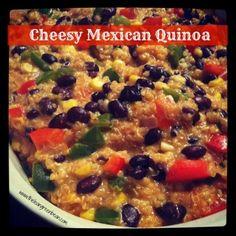 Cheesy Mexican Quinoa c onion 1 red pepper 1 green pepper 2 c black beans, cooked c corn kernels 1 clove garlic tsp cumin 1 tsp paprika – 1 tsp cayenne pepper 2 c quinoa, cooked 1 c shredded low-fat cheese 1 c milk 1 Tbsp butter 1 Tbsp flour Quinoa Recipes Easy, Vegetarian Recipes, Healthy Recipes, Mexican Food Recipes, Real Food Recipes, Yummy Food, Mexican Quinoa, Low Fat Cheese, How To Cook Quinoa