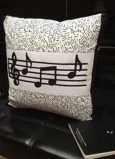 Music Note Pillow Black and White   Machine by ParkVintageVillage