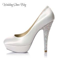 Be a Glamorous Bride in Platform White Bridal Shoes with Jeweled Heel. http://www.weddingshoesblog.com/be-a-glamorous-bride-in-platform-white-bridal-shoes-with-jeweled-heel/ #weddingshoes #wedding #fashion