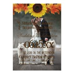 Bride and groom - couple christmas - white dogs card - wedding invitations cards custom invitation card design marriage party