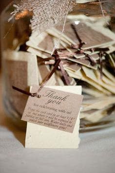 "Wedding Favor - ""Cut large sheets of seed paper into 2 or 3 inch squares. Seed paper is 100% recyclable paper that is peppered with flower seeds, so you can plant it and grow flowers!"""