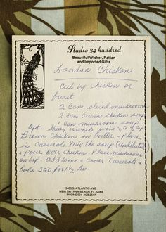 London Chicken #youngblood #family #recipe #vintage