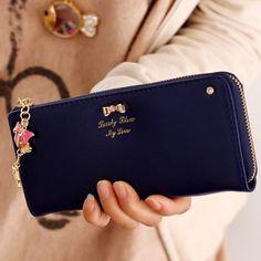 Sweet Bow and Pendant Design Clutch Wallet For Women, DEEP BLUE in Women's Wallets   DressLily.com