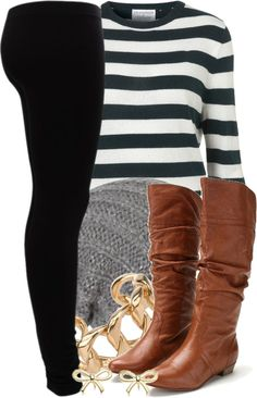 A fashion look from November 2012 featuring breton sweater, fitted pants and short heel boots. Browse and shop related looks. Casual Outfits, Cute Outfits, Fashion Outfits, Womens Fashion, Fall Winter Outfits, Autumn Winter Fashion, Polyvore Outfits, Swagg, Passion For Fashion