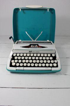 Typewriter | Two Toned Teal Smith Corona Typewriter by AtomicAttic on Etsy
