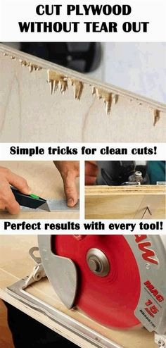 Simple tricks for clean cut on plywood and veneered wood! No more nasty tear out! Cut plywood like a pro carpenter! #WoodworkTechniques