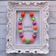 Pink Orange & Lime Green Chunky Necklace Gumball by IzziesPretties