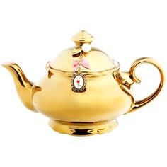 LD by Little Diva Gold teapot ($37) ❤ liked on Polyvore featuring home, kitchen & dining, teapots, tea, fillers, gold, decor, home & furniture, gold tea pot and gold teapot