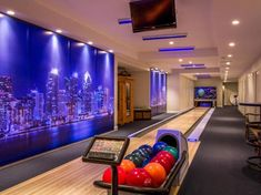 This house has a basement bowling alley. This house has a basement bowling alley. Check out more homes with unbelievable features Game Room Basement, Basement House, Home Bowling Alley, Waterfront Homes, Entertainment Room, Interior Design Living Room, My Dream Home, Future House, Home And Living