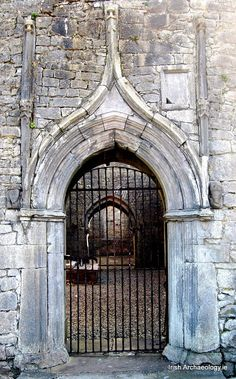 An ornate doorway at Dunmore Friary, Co. Galway. The friary was found by Walter De Bermingham, Lord Barron of Athenry, for the Augustinian order sometime around 1425.