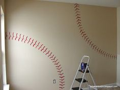 Good tutorial on making baseball nursery wall... good step-by-step pictures!  Simply Mom: Play Ball