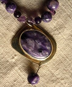 Charoite Amethyst Sterling Silver Pendant Oval by QuietMind