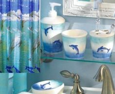 New 6 Pc Dolphin Bathroom Accessories Set Includes Fabric Shower Curtin More