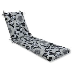 Outdoor/Indoor Sophia Graphite Chaise Lounge Cushion - Pillow Perfect, Black