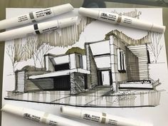"""588 Me gusta, 6 comentarios - @gallardo.arquitectura en Instagram: """"Sketch of the day!! . If you need an Architectural Project, please contact Us …"""""""