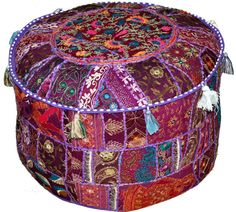 Purple Vintage Indian Ottoman Stool Cover Patchwork Footstool Foot Rest Decor Pouf textiles round Seating Ottoman Cover Pouf Pouffe COVER