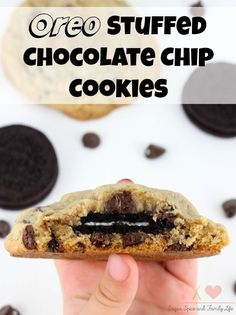 Oreo Stuffed Chocolate Chip Cookies are the ultimate cookie dessert. They combine two of the most popular cookies into one delicious cookie. Cookie lovers and chocolate lovers will adore these big cookies.  - Oreo Stuffed Chocolate Chip Cookies Recipe on