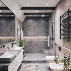 20 Most Beautiful Bathroom Design With Modern Bathtub Ideas - Badezimmer Modern Bathtub, Modern Bathroom Design, Bathroom Interior Design, Modern Bathrooms, Bathroom Designs, Master Bathrooms, Bath Design, Modern Vanity, Modern Shower