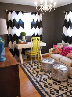 Home Office Design, Pictures, Remodel, Decor and Ideas - page 14  Chevron curtains!!