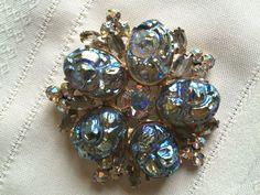Juliana D & E Verified AB Lava Stone Rhinestone Brooch Pin Gold Plated #Juliana