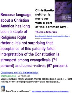 Because language about a Christian America has long been a staple of Religious Right rhetoric, it's not surprising that acceptance of this patently false interpretation of the Constitution is strongest among evangelicals (71 percent) and conservatives (67 percent).   > > > > >   Click image!