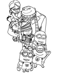 coloring page despicable me gru agnes edith margo - Printable Kid Coloring Pages