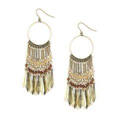 Arrowhead and Chains Hoop Drop Earrings