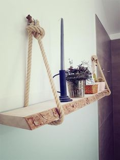 A bit of nature in our four bathroom walls!- Etwas Natur in unseren vier Badwänden! Fast DIY: A shelf made of rough wooden board with bark and simple ropes. Decoration Bedroom, Diy Bathroom Decor, Bathroom Wall, Wall Decor, A Shelf, Wall Shelves, Hanging Shelves, Bad Wand, Mur Diy