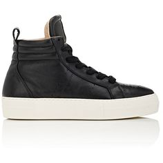 Helmut Lang Women's Leather Platform High-Top Sneakers ($299) ❤ liked on Polyvore featuring shoes, sneakers, black, leather platform sneakers, high-top sneakers, platform sneakers, black shoes and leather high top sneakers