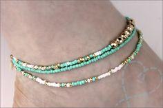 Jewelry making # Practice on bracelets and anklets incl. Explanation - Making jewelry # Practice on Bracelets and anklets incl. Explanation: Nobody ELSe - Neon Bracelets, Seed Bead Bracelets, Ankle Bracelets, Beaded Anklets, Beaded Jewelry, Ankle Chain, Antique Jewelry, Turquoise Bracelet, Jewelery
