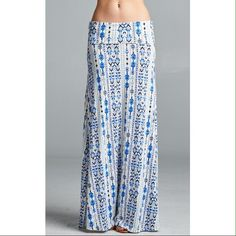 Maxi skirt Waist: 15.5 inches laid flat. Length: 44 inches.  96% rayon 4% spandex Skirts Maxi