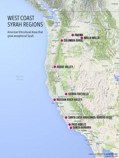 West Coast Syrah Wine Exploration Map by Wine Folly