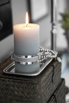 candle - BEDc12_small - Lene Bjerre Grey Candles, Pillar Candles, Candle In The Wind, Candle Accessories, Retro Stil, Beautiful Candles, Candle Lanterns, Christmas Colors, Silver Christmas