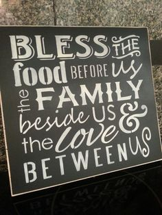 Hand Painted Wood Sign, Bless The Food Before Us,Primitive Distressed Wood Sign, Subway, Typography, Wall Decor