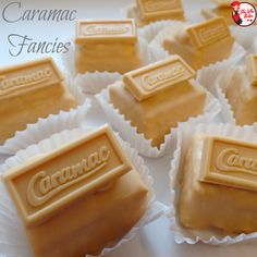 Caramac Fondant Fancies - She Who Bakes Tray Bake Recipes, Baking Recipes, Cake Recipes, Dessert Recipes, Fondant Recipes, Fondant Tips, Easy Desserts, Keto Recipes, Yummy Treats