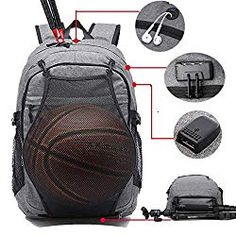 College Laptop Backpack, School Basketball Backpack with USB Charging Port - CLICK IMAGE to see more Description & Spec. Laptop Backpack, Travel Backpack, Fashion Backpack, Little Backpacks, 12 Year Old Boy, Anti Theft Backpack, Robots For Kids, Business Laptop, Old Boys