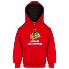 Chicago Blackhawks Boys/Girls Red Primary Logo Hooded Sweatshirt by Reebok #Chicago #ChicagoBlackhawks #Blackhawks