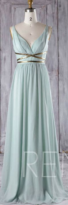 Dusty Shale Chiffon Bridesmaid Dress, Deep V Neck Wedding Dress with Gold Belt, A Line Prom Dress, Long Evening Gown Floor Length #womensfashion #ad #bridesmaiddresses #promdresses