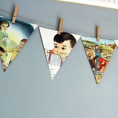Turn the pages of a vintage book with quirky illustrations into a simple decorative banner.