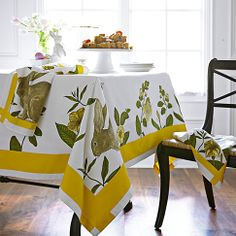 Williams Sonoma Easter 2014 collection - bunny botanical print tablecloth.