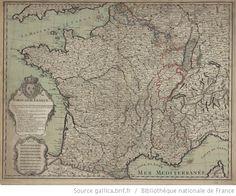 1642-1714 - Carte de France. Le jaune marque l'étendue de la France sous le Roy Louis XIII, le bleu ce que la France a acquis par le traité de Munster en 1648 [...]Le crayon rouge marque les Bornes du Royaume à la paix d'Utrecht[...]