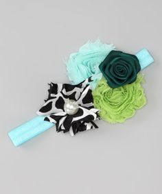 Take a look at this Turquoise & Green Rosette Headband by Born Posh on #zulily today!
