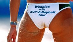 """Volleyball Butt workout! Okay maybe this pic was taken """"in action"""" and she has a small wedgie so it makes it look small...lol...but I would want my butt a little bigger"""