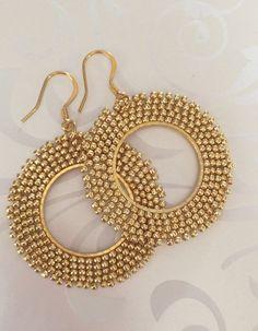 Bright Gold Beadwork Earrings Gold Seed Bead Hoop от WorkofHeart